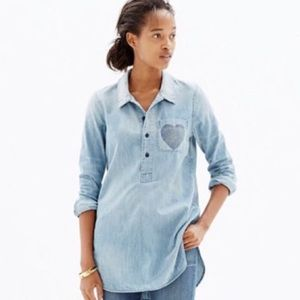 Madewell Little Love Popover Denim Chambray Shirt